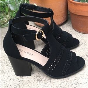 Shoes - BRAIDED ANKLE STRAP CHUNKY HEEL